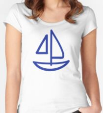 Blue sailing boat Women's Fitted Scoop T-Shirt