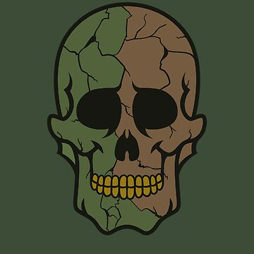 Army Colored Camouflage Sugar Skull Design by allovervintage