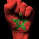Flagge von Marokko auf einer angehobenen geballten Faust von jeff bartels