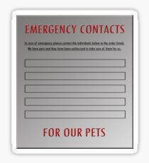 Pet Emergency Contact Refrigerator Vinyl Sticker Sticker