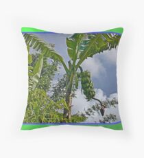 Bananas Against Clouds and Sky Throw Pillow