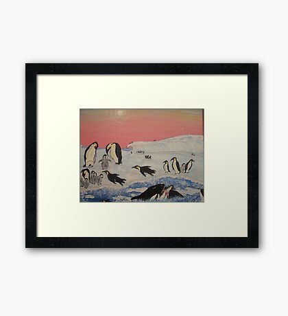 King Penguins in orca play Framed Print