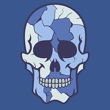 Blue Colored Camouflage Sugar Skull Design by allovervintage