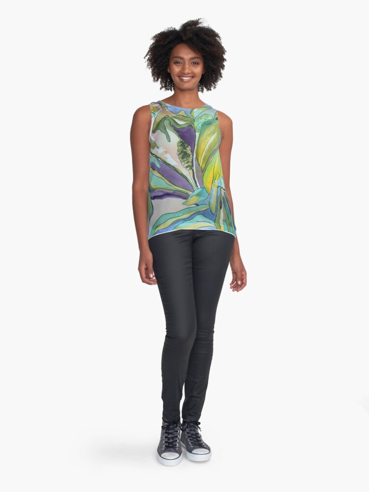 Alternate view of Split Leaf Philodendron in the Wild Sleeveless Top