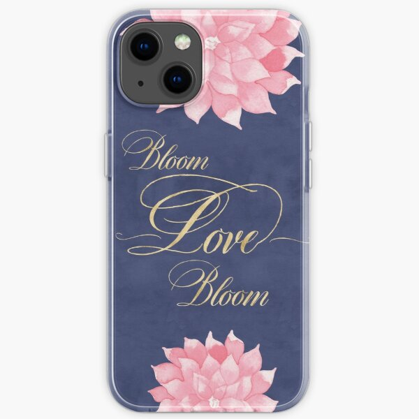 Watercolor Floral Bloom Love Quote Navy Blue Blush Pink Dahlia Art iPhone Soft Case
