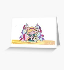 Star vs The Forces Of Evil & Ponies Greeting Card