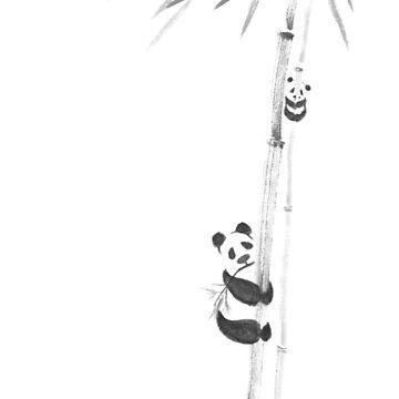Cute pandas climbing bamboo trees sumi-e painting design black on white background art print by AwenArtPrints