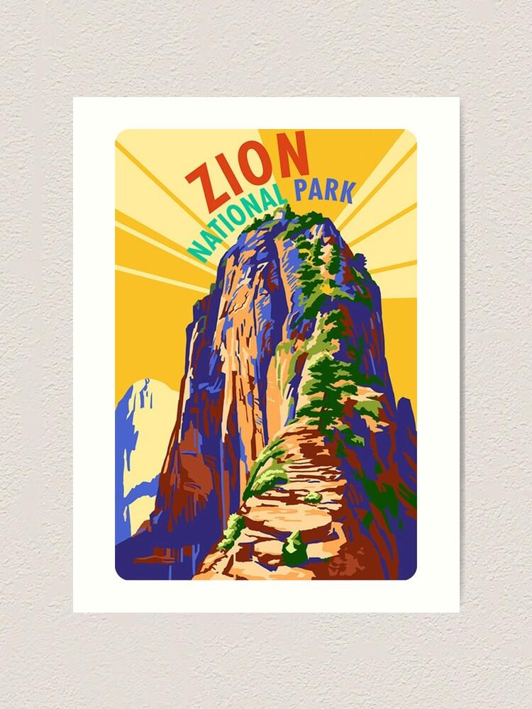 Zion National Park White Throne Mountain Vintage World Travel Art Poster Print