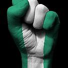 Flagge von Nigeria auf einer angehobenen geballten Faust von jeff bartels