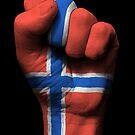 Flagge von Norwegen auf einer angehobenen geballten Faust von jeff bartels