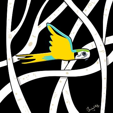 Parrot flying in the jungle - illustration by isabelrb