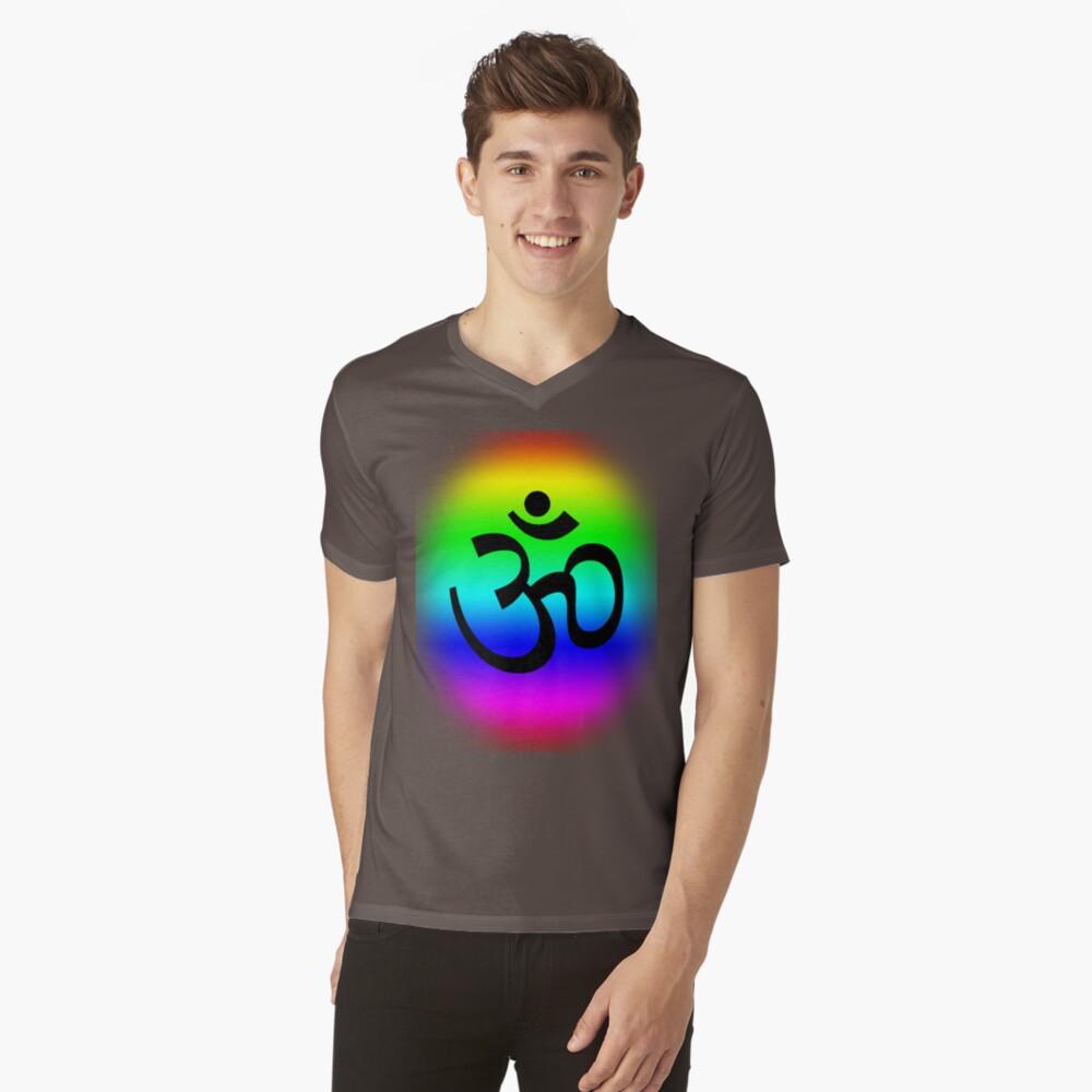 Rainbow Om Mens V-Neck T-Shirt Front