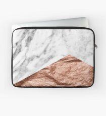 Rose gold foil marble geo Laptop Sleeve