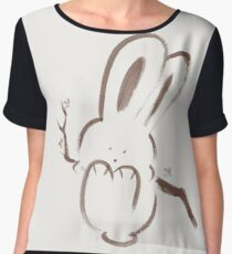 Cute happy bunny rabbit swinging on a branch illustration brown on ivory background art print Chiffon Top