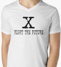 The X Files fight the future Men's V-Neck T-Shirt