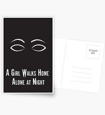 A Girl Walks Home Alone at Night Minimalist Poster Postcards