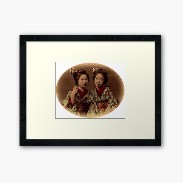 Japanese girls wearing kimono Framed Art Print