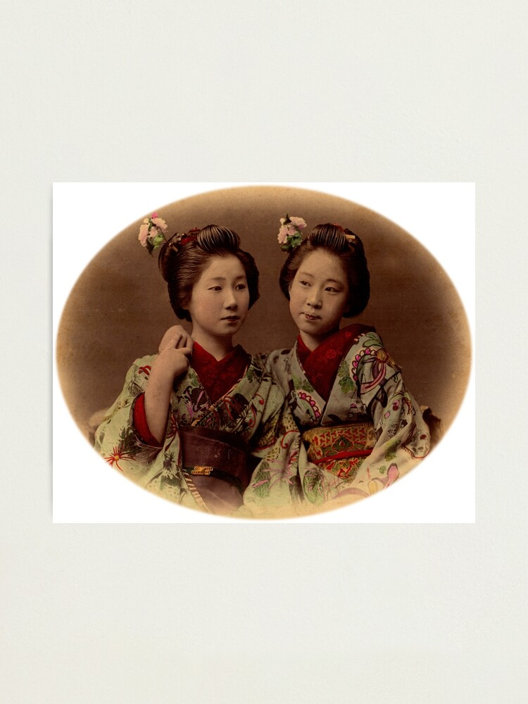Alternate view of Japanese girls wearing kimono Photographic Print