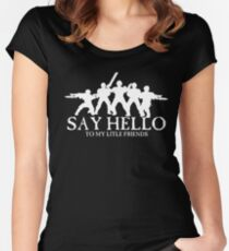 Say Hello To My Little Friends Guard - White Women's Fitted Scoop T-Shirt