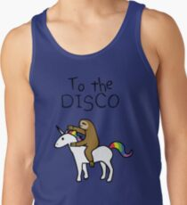 Camiseta de tirantes ¡A la discoteca! (Sloth Riding Unicorn)