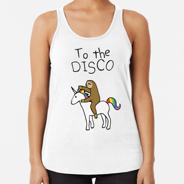 To The Disco! (Sloth Riding Unicorn) Racerback Tank Top