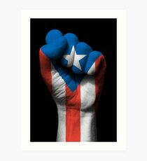 Flag of Puerto Rico on a Raised Clenched Fist  Art Print