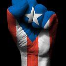 Flagge von Puerto Rico auf einer angehobenen geballten Faust von jeff bartels