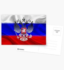 Flag of Russia with the coat of arms laid over it Postcards