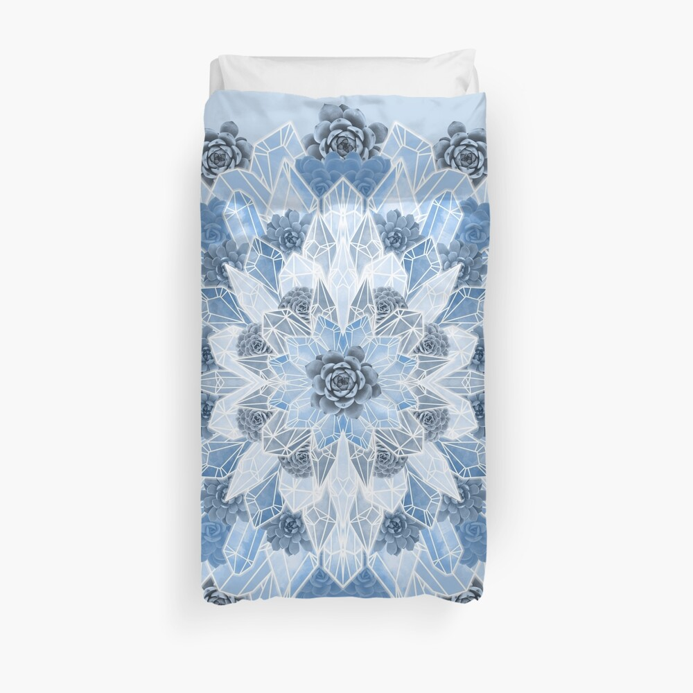 Crystals Succulents Mandala BLUE Duvet Cover