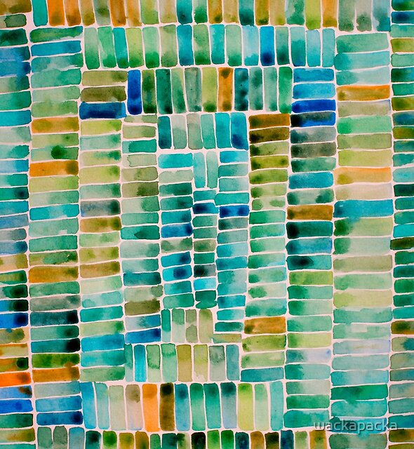 Watercolor abstract rectangles - orange and green by wackapacka