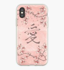 Pink Peach Blossoms and Eternal Love Calligraphy Symbol iPhone Case
