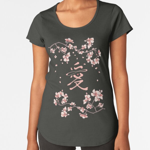 Ten Miles Of Pink Peach Blossoms And Eternal Love Chinese Calligraphy Premium Scoop T-Shirt