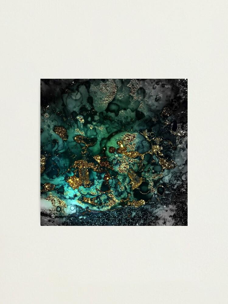 Alternate view of Gold Indigo Malachite Marble Photographic Print