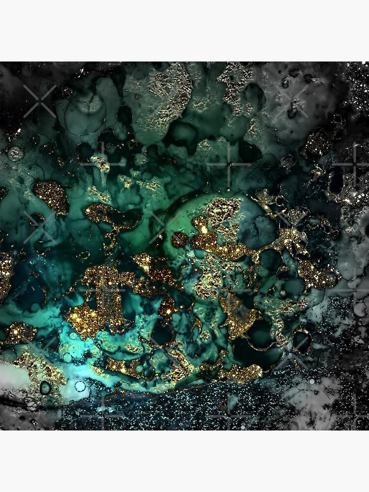 Gold Indigo Malachite Marble by MysticMarble