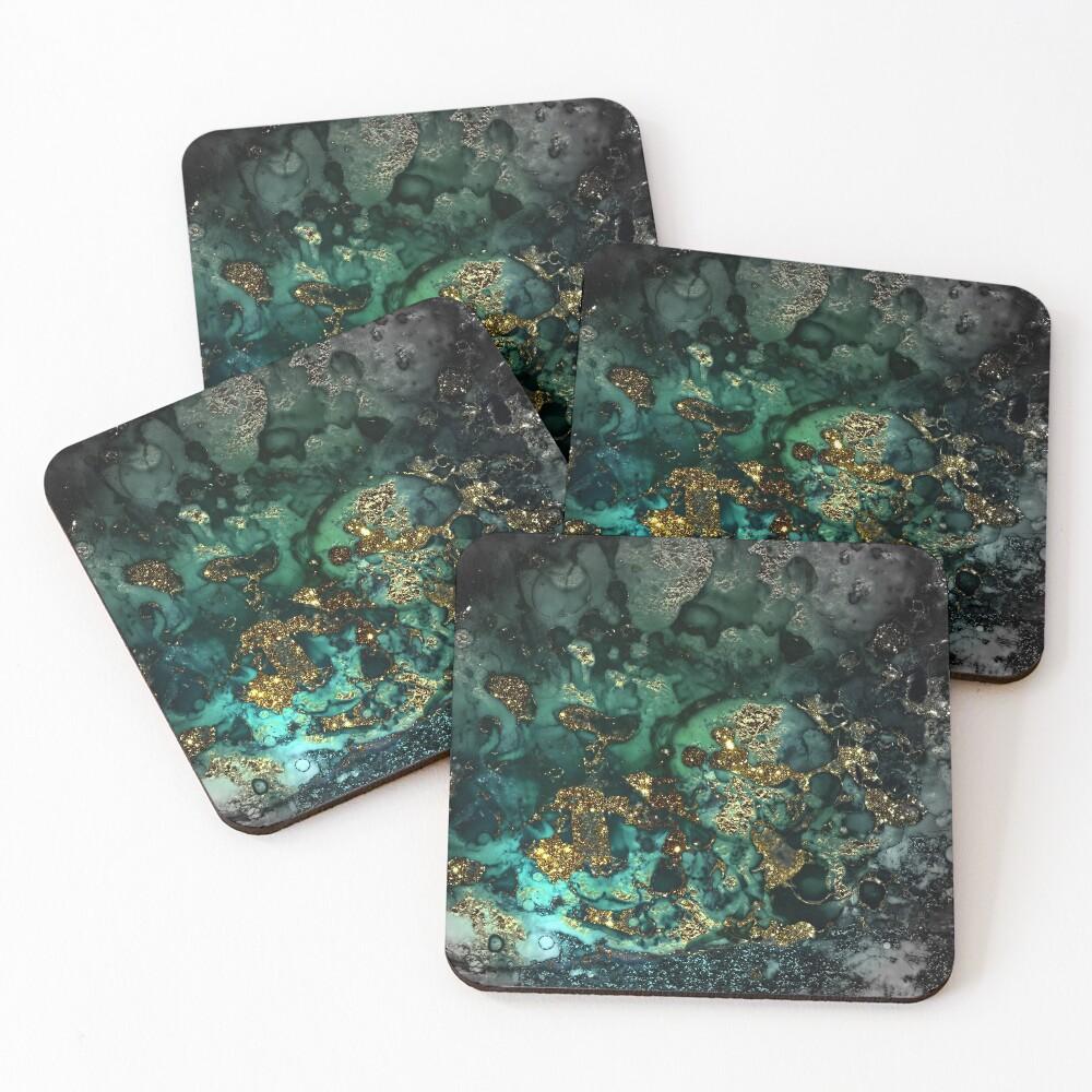 Gold Indigo Malachite Marble Coasters (Set of 4)