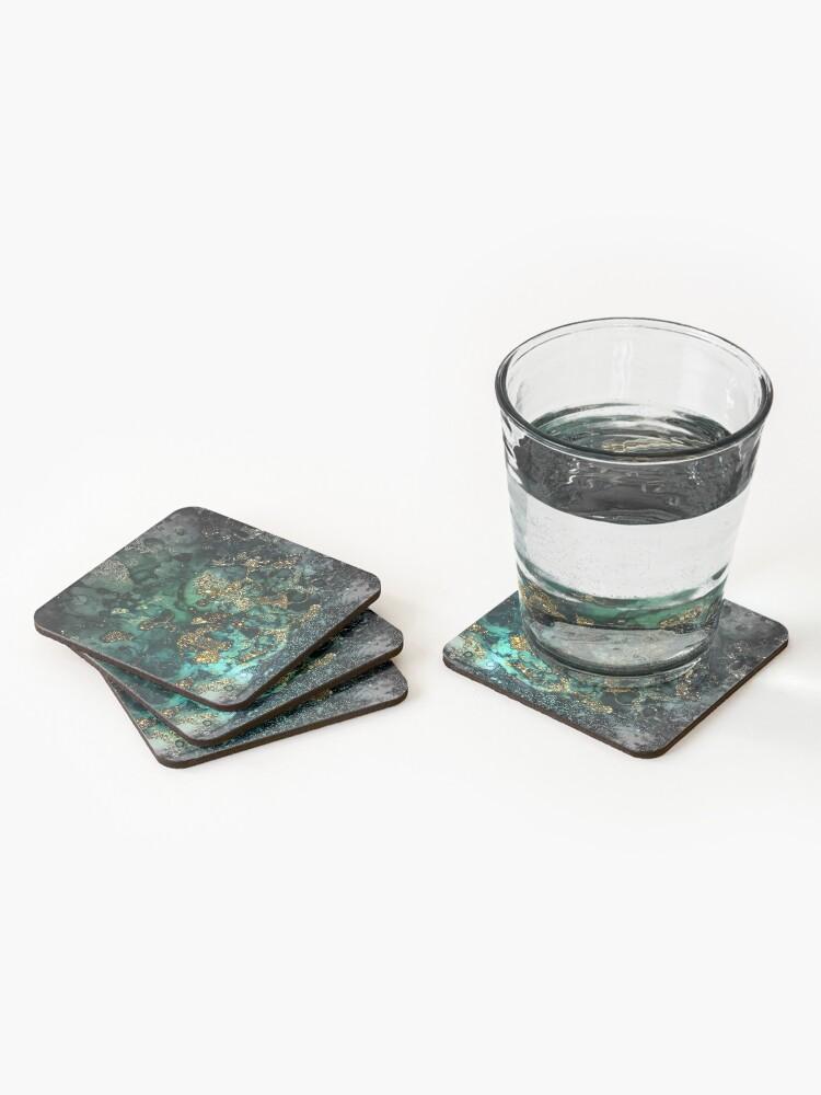 Alternate view of Gold Indigo Malachite Marble Coasters (Set of 4)