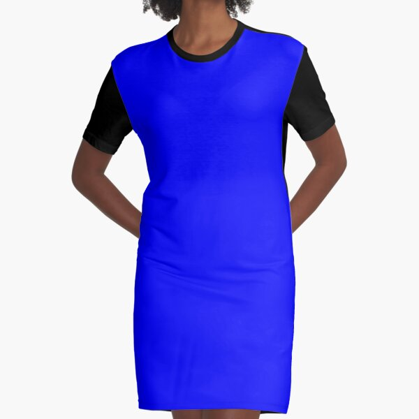Solid Sky Blue Graphic T-Shirt Dress