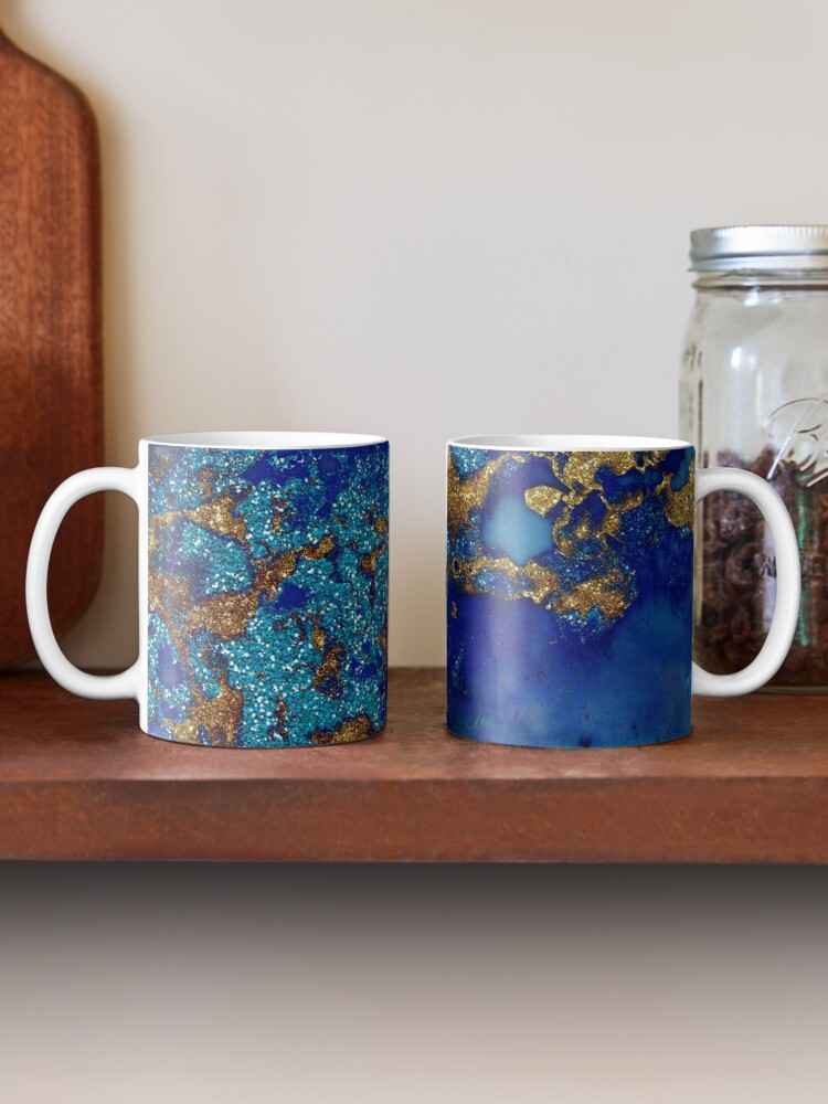 Alternate view of Gold Indigo Blue Malachite Marble Mug