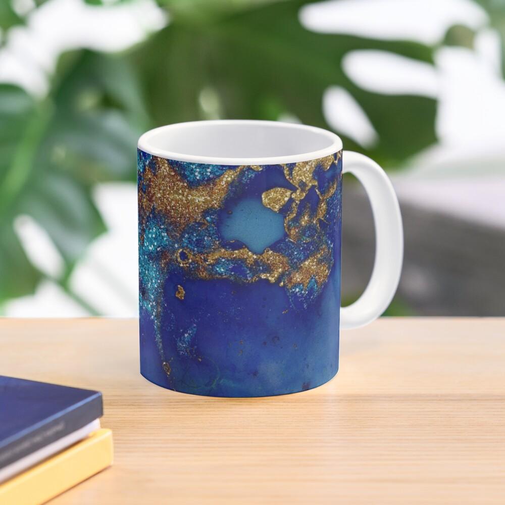 Gold Indigo Blue Malachite Marble Mug
