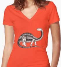 Dinosaur Women's Fitted V-Neck T-Shirt