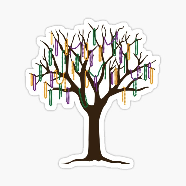 Tulane Mardi Gras Bead Tree Sticker