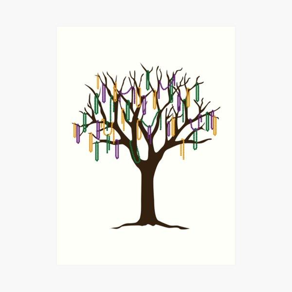 Tulane Mardi Gras Bead Tree Art Print