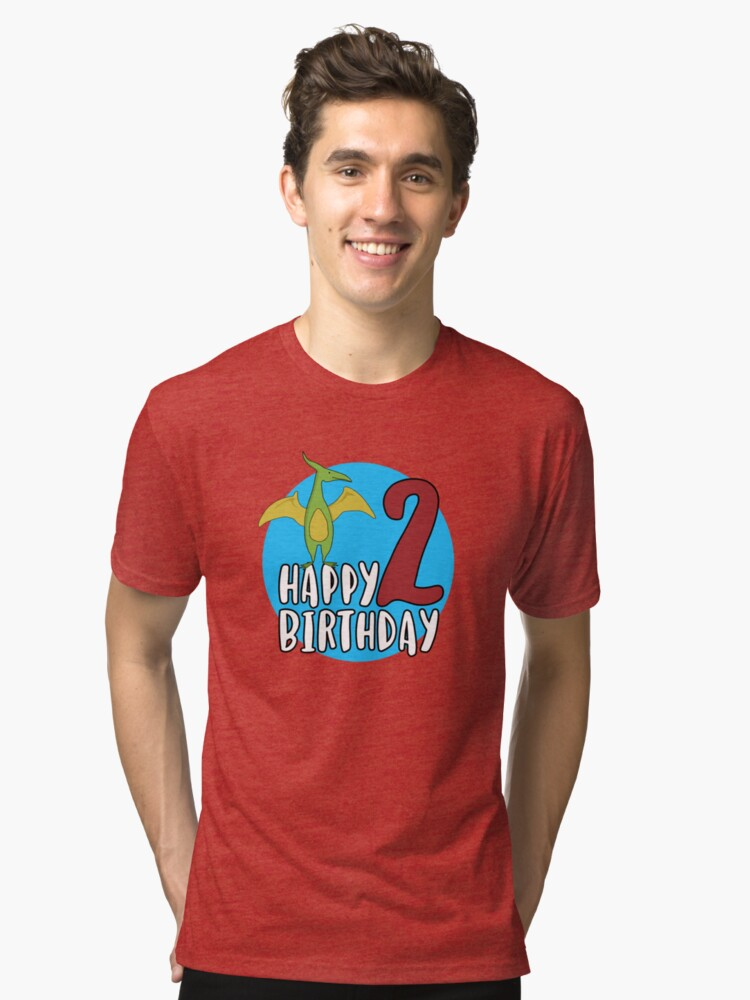 Cute Green Pterodactyl Dinosaur Kids 2nd Birthday Party Tri Blend T Shirt Front