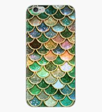 Green and Gold Spring Metal Sparkle Faux Glitter Mermaid Scales iPhone Case