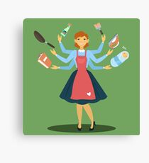 Successful Housewife. Multitasking Woman. Perfect Wife. Young Mother. Canvas Print