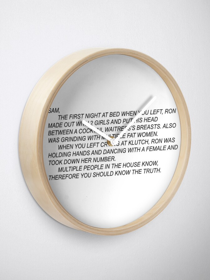 Alternate view of Sam's note jersey shore Clock