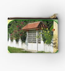 Decorative Entry-way with Flowers Studio Pouch