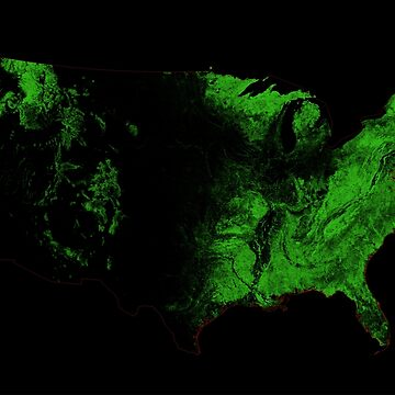 Forest cover map of the US by GrasshopperGeo