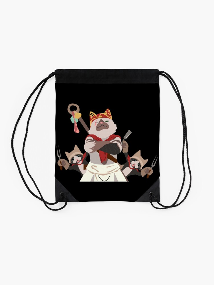 Alternate view of Meowscular Chef and his crew Drawstring Bag