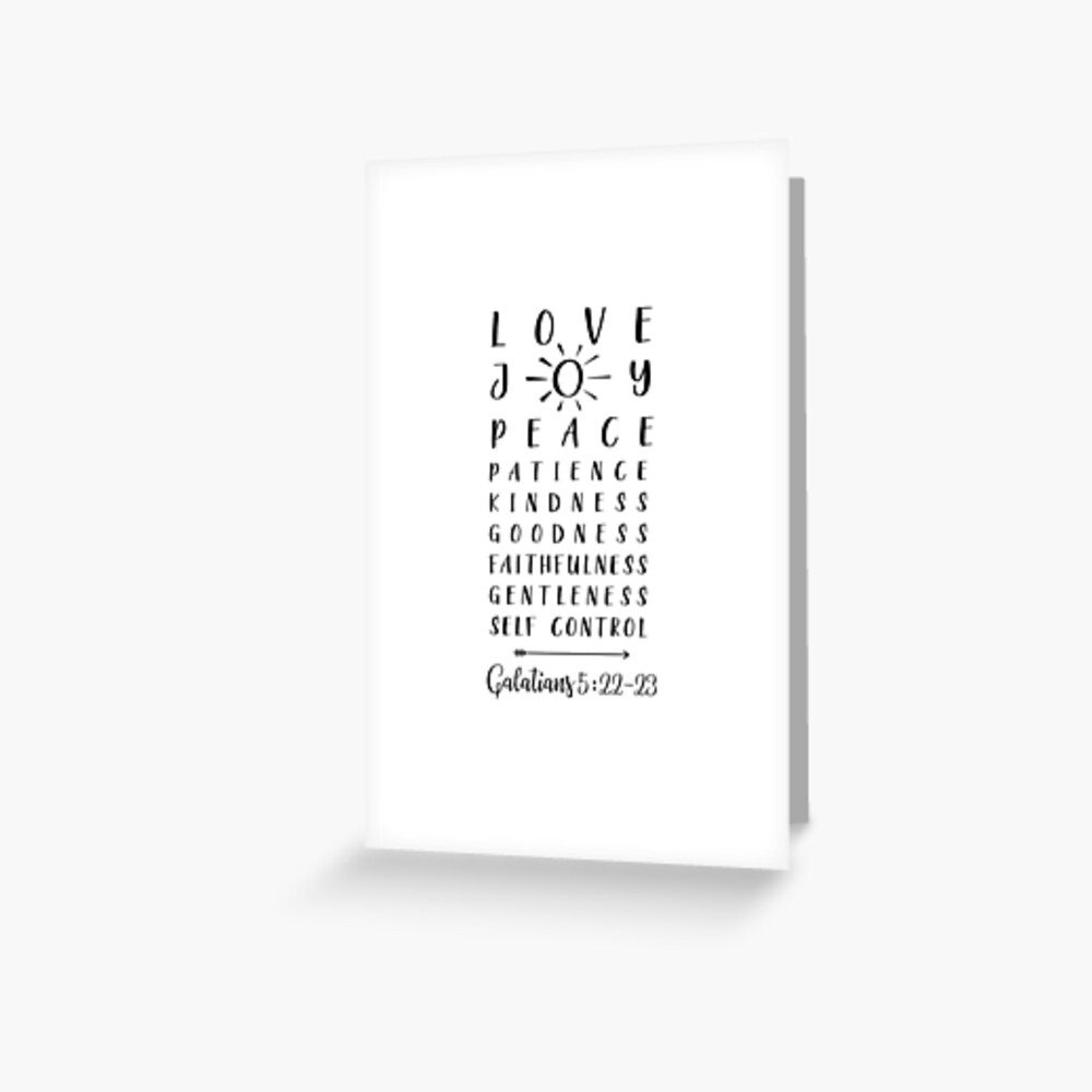 Liebe, Freude, Friede, Geduld, Bibeldruck, Galater 5 22 Grußkarte